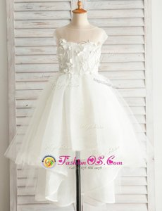Latest Scoop White Short Sleeves High Low Appliques Zipper Flower Girl Dress