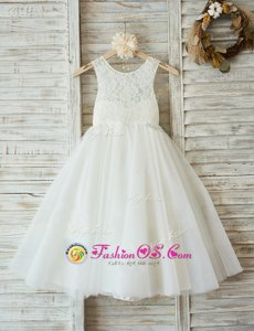 Discount A-line Flower Girl Dresses White Scoop Tulle Sleeveless Floor Length Zipper
