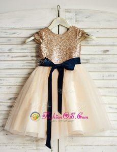 Champagne Scoop Neckline Sashes|ribbons and Sequins Flower Girl Dresses Sleeveless Zipper