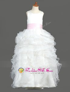 Ideal Scoop White Column/Sheath Ruffled Layers Flower Girl Dresses for Less Zipper Organza Sleeveless Floor Length