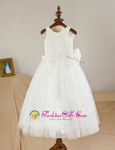A-line Toddler Flower Girl Dress White Scoop Tulle Sleeveless Floor Length Zipper