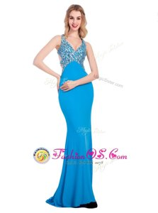 Spectacular Baby Blue Clasp Handle V-neck Beading Dress for Prom Silk Like Satin Sleeveless