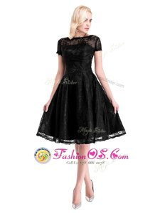 Affordable Black Short Sleeves Lace Zipper Mother Of The Bride Dress for Prom and Party