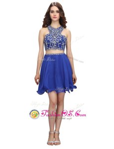 Dazzling Scoop Knee Length Criss Cross Prom Dresses Royal Blue and In for Prom and Party with Beading