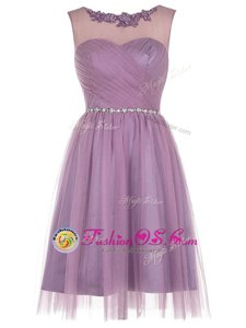 Scoop Lavender Tulle Zipper Sleeveless Knee Length Beading and Appliques