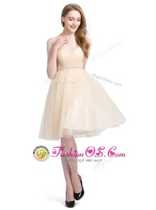 Luxury Champagne Prom Party Dress Prom and Party and For with Beading and Lace Bateau Sleeveless Clasp Handle
