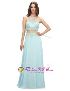 Light Blue Zipper Scoop Beading Chiffon Sleeveless