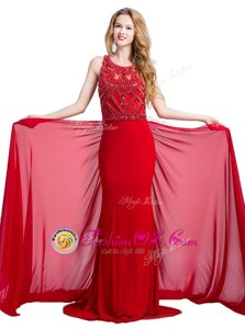 Dynamic Scoop Sleeveless Court Train Beading Zipper Prom Homecoming Dress