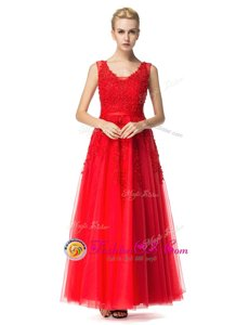 Sleeveless Lace Up Floor Length Beading and Appliques Evening Dress