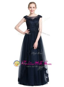 Traditional Mermaid Prom Dresses Champagne Square Tulle Sleeveless Floor Length Backless