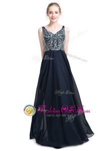 Modern Sleeveless Chiffon Floor Length Zipper Going Out Dresses in Black for with Beading