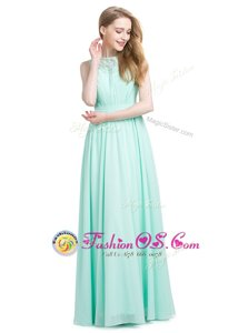 Sexy Turquoise Sleeveless Appliques Floor Length Prom Dress