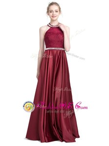 Affordable Halter Top Sleeveless Taffeta Floor Length Zipper Prom Dresses in Burgundy for with Beading and Lace