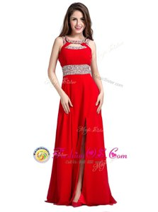 Fantastic Floor Length Red Silk Like Satin Sleeveless Beading
