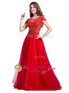 Cheap Floor Length Side Zipper Mother Of The Bride Dress Coral Red and In for Prom and Party with Beading