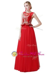 Scoop Sleeveless Beading and Appliques Zipper Prom Evening Gown