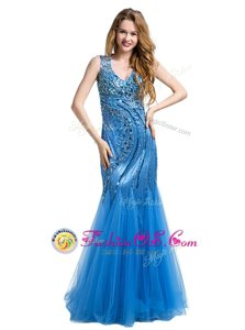 Dazzling Mermaid Baby Blue Sleeveless Beading and Appliques Floor Length Evening Dress