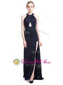Halter Top Backless Elastic Woven Satin Sleeveless With Train Prom Evening Gown Brush Train and Beading