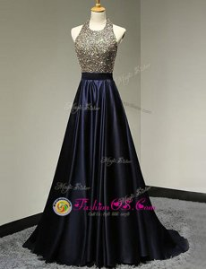 Elegant Halter Top Navy Blue Sleeveless Satin Brush Train Backless Prom Party Dress for Prom and Party