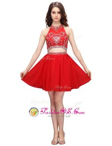 Exquisite Coral Red Zipper Junior Homecoming Dress Beading and Appliques Sleeveless Knee Length