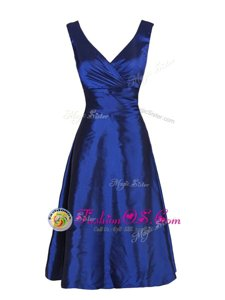 V-neck Sleeveless Evening Dress Knee Length Sashes|ribbons Navy Blue Satin