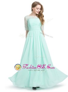 Turquoise Scoop Lace Up Lace Dress for Prom Half Sleeves