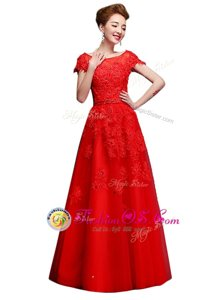 Shining Floor Length A-line Short Sleeves Red Mother Of The Bride Dress Lace Up