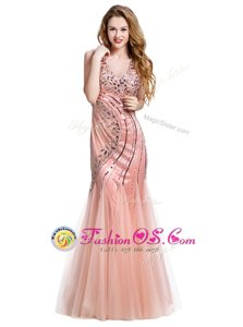 Gorgeous Mermaid Peach Lace Up Homecoming Dress Beading Sleeveless Floor Length