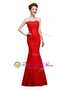 Mermaid Red Strapless Neckline Lace Evening Party Dresses Sleeveless Lace Up