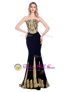 Unique Black Mermaid Satin Strapless Sleeveless Appliques With Train Zipper Prom Dress Sweep Train