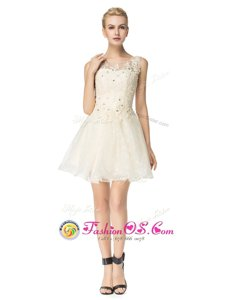 Custom Made Champagne Dress for Prom Prom and For with Beading and Appliques Scoop Sleeveless Lace Up