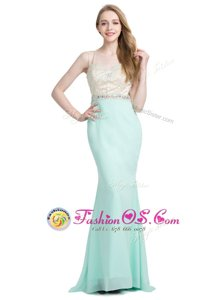 Fashionable Criss Cross Apple Green Sleeveless Brush Train Beading With Train Prom Evening Gown