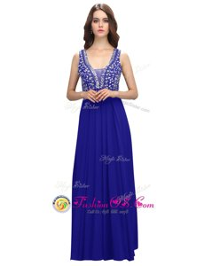 Luxurious Sleeveless Chiffon Floor Length Zipper Womens Evening Dresses in Royal Blue for with Beading