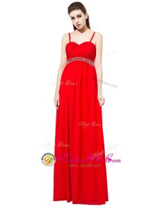 Red Sleeveless Beading Floor Length Homecoming Gowns