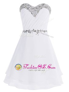 Popular White Empire Chiffon Sweetheart Sleeveless Beading Mini Length Zipper Evening Dress