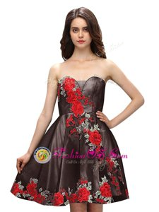 Extravagant Multi-color Prom Dress Prom and Party and For with Embroidery Sweetheart Sleeveless Zipper