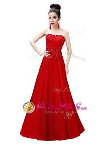 Sleeveless Lace Up Floor Length Beading Prom Gown