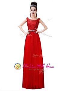 Stylish Floor Length Zipper Prom Evening Gown Red and In for Prom and Party with Beading and Lace