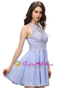 Modern Halter Top Sleeveless Junior Homecoming Dress Mini Length Beading and Lace Lavender Chiffon