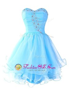 Shining Ruffled A-line Prom Gown Aqua Blue Sweetheart Organza Sleeveless Mini Length Lace Up