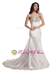 Artistic Taffeta Sweetheart Sleeveless Sweep Train Lace Up Beading Mother Of The Bride Dress in White