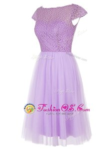 Flirting Knee Length Zipper Prom Party Dress Lavender and In for Prom and Party with Beading