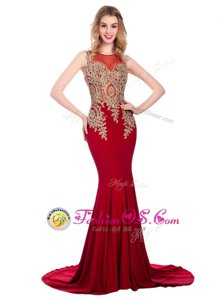 Great Scoop Sleeveless Brush Train Side Zipper With Train Lace and Appliques Evening Wear