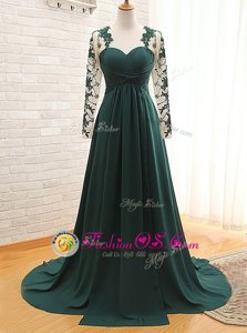 Teal Satin Zipper Mother Of The Bride Dress Long Sleeves With Train Lace