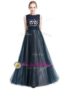 Great Floor Length Navy Blue Homecoming Gowns Scalloped Sleeveless Zipper