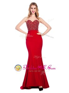 Artistic Mermaid Elastic Woven Satin Sweetheart Sleeveless Sweep Train Zipper Beading Prom Gown in Wine Red