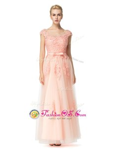 Peach Scoop Neckline Lace Prom Party Dress Cap Sleeves Zipper