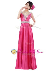 Hot Pink Zipper V-neck Beading Prom Evening Gown Elastic Woven Satin Sleeveless