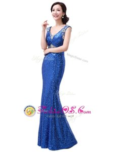 Sequins Floor Length Royal Blue Dress for Prom V-neck Sleeveless Zipper
