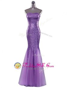 Sexy Eggplant Purple Mermaid Strapless Sleeveless Sequined Floor Length Zipper Sequins Formal Evening Gowns